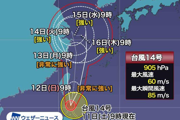 台風14号への備えについて