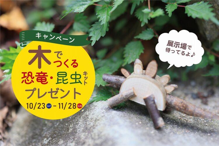 【秋の展示場フェア】木の枝でつくる恐竜・昆虫キットプレゼント//10/23(土)~11/28(日)